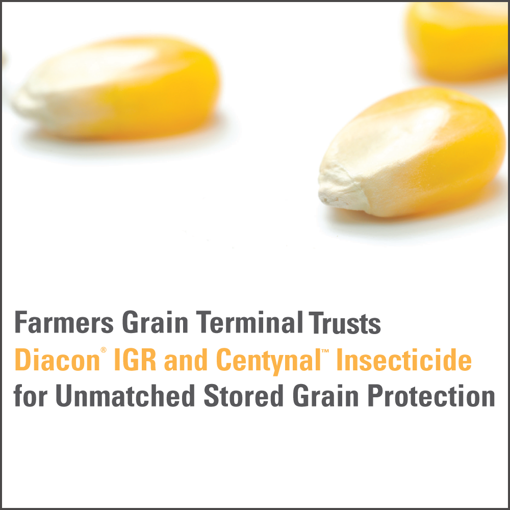 Farmers Grain Terminal trusts Diacon IGR and Centynal Insecticide for unmatched stored grain protection.